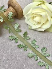 "1 1/2"" Oak Leaf & Acorn Trim - Moss Green Organza & Satin Cut out Leaves Autumn"