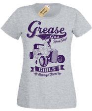 Grease Gas Work Shop T-Shirt speed rockabilly hotrod car mechanic Ladies womens
