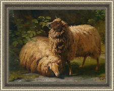 """Old Master-Art Antique Oil Painting Animal Sheep on canvas 30""""x40"""""""