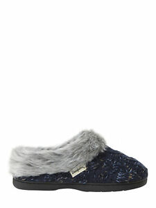 Dearfoams Women's Peacoat Cable Knit Space Dye Clog Slippers Size Small (5-6)