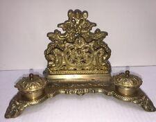 Large **Antique Victorian Brass Cherub Double Inkwell w/ Letter & Pen Holder