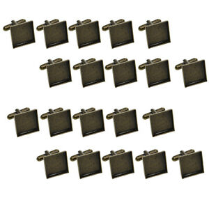 Pack of 20x 16mm Square Copper Blank Cuff Links Base Settings Pad Findings