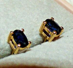 Sri Lankan Blue Sapphire Gold Earrings = Brand New