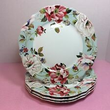 NEW Set Of (4) 222 Fifth *Oriana Teal* Dinner Plates Spring Floral Pink Flowers1