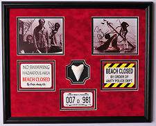 JAWS cast framed signed photos with Shark tooth, warning signs and license plate