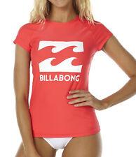 "NEW + TAG BILLABONG WOMENS (8) ""SURF DAYZ"" WET SHIRT RASHIE RASH VEST FIESTA RED"
