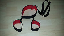 Red & Black Adjustable Collar & Handcuffs NECK TO WRIST RESTRAINTS SUB DOM