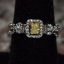 18K White Gold 1.25 Cttw Yellow & White Diamond Eternity Band/ Engagement Ring