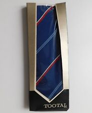 Boxed vintage Tootal tie post-war UNUSED 1950s BLACK QUALITY navy blue striped