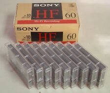 Lot 19 Vintage Sony HF 60 Used Audio Cassette Tape High Fidelity in Cases