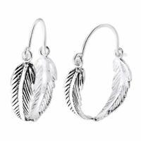 925 Sterling Silver Twin Leaf Ear Ring