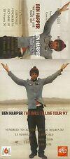 RARE / TICKET DE CONCERT - BEN HARPER LIVE A GRENOBLE - OCT. 1997 / COMME NEUF