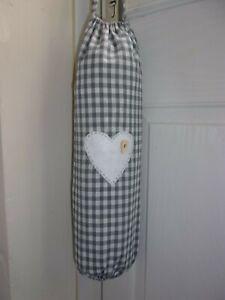 Grey Gingham & Heart Carrier Bag Holder/Dispenser  Homecrafted Shabby Chic  x