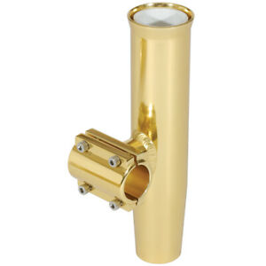 """Lee's Clamp-On Rod Holder Gold Aluminum Horizontal Mount Fits 1.660"""" O.D. Pip..."""