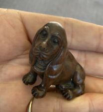 Japan Antique Netsuke Wood Carved Dog Figurine Miniature Collectable Signed