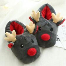 Unisex Winter Soft Christmas Deer Cotton Slippers Cute Plush Cotton Shoes