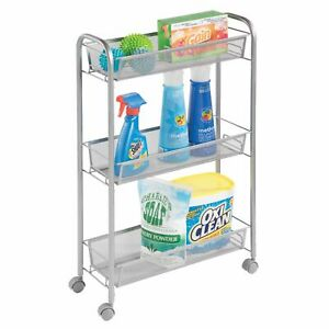 mDesign Portable Metal Rolling Laundry Cart - 3 Narrow Shelves - Silver