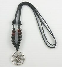 Boho Beaded Surfer Necklace With an HEPTAGRAM / SEPTAGRAM Pendant UNISEX