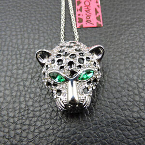White Crystal Enamel Cheetah Head Pendant Betsey Johnson Chain Necklace/Brooch