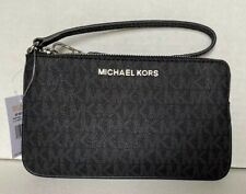 New Michael Kors Jet Set Travel Large top zip wristlet Signature PVC Black