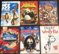 Lot of 6 Kids Teens DVDs: Ice Age Kung Fu Panda Book Of Life Wimpy Kid +more