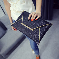 Women Ladies Bridal Party Evening Prom Envelope Sequins Clutch Bag Handbag PurGS