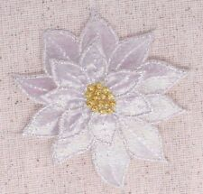 Small Poinsettia - White - Christmas Flower - Iron on Applique/Embroidered Patch