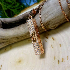 Square Rose-Gold Crystal Mezuzah Necklace