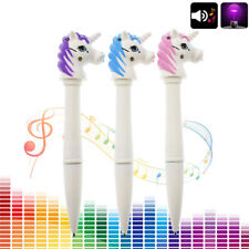Cute Unicorn Horse Head LED Light Music Sound Ballpoint Pen Kids Gift