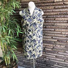 Talbots Blue Toile Sleeveless Stretch Cotton Shirtdress Size 14 Petite