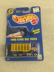 HOT WHEELS 1991 BLUE CARD #99 - FORD STAKE BED TRUCK New On Card B90