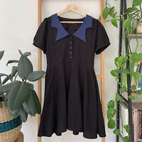 Princess Highway Womens Black Collared Retro A-Line Short Sleeve Dress Size 12