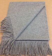 Plain Mid Grey100%  PURE WOOL Fringed Throw/Blanket/ UK WOVEN