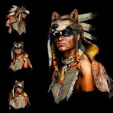 Unpainted 1/9 Warrior Wolf Ancient Cheyenne Bust Resin figure Model Garage Kits