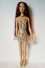 "MA ALEX 16"" Doll Clothes Sexy Gold Dress, Purse and Jewelry Fashion NO DOLL d4e"