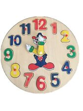 Educational Children's Wooden Puzzle Clock W/ Movable Hands & Removable Numbers