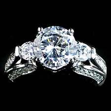 3-STONE ROUND BRILLIANT _CLEAR CZ RING SZ-10__925 STERLING SILVER
