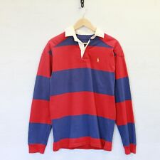 Vintage Polo Ralph Lauren Striped Padded Long Sleeve Rugby Shirt Blue Red Small