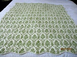 """At Home American Quilted Coverlet 57""""x52"""" Olive and Cream"""