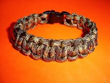 550 ParaCord Survival Cobra Braided Bracelet Desert Camo #2 - Fits up to 7 1/2""