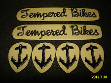 6 AUTHENTIC SMALL TEMPERED BMX BIKE BLACK FRAME STICKERS #33 DECALS AUFKLEBER
