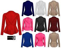 Womens Ladies Crop Frill Shift Slim Fit Fitted Peplum Blazer Jacket Coat UK 8-14