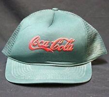 VTG Green Coca-Cola Snapback Hat Foam Mesh Cap Embroidered Red Script Adjustable