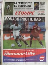 L'Equipe Journal 28/11/2001; Monaco de Deschamps/ Armstrong vélo d'or