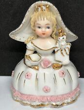 """Vintage Lefton Kw1052 Nurseries Series """"Little Miss Muffet� Figurine"""