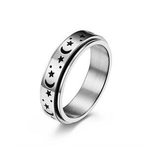 Stainless Steel Spinner Ring for Women Mens Fidget Band Rings Moon Star