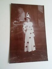 Vintage Real Photo Postcard LADY IN PIERROT CLOWN TYPE DRESS+HAT  §A2372