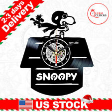 Snoopy Flying Ace Vinyl Clock Red Baron Decor Wall Peanuts Kid Christmas Gifts