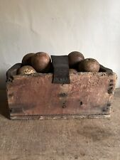Early Antique Old Red Paint Wooden Tote Carrier Handmade Worn Leather AAFA