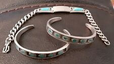 3) Old Pawn Sterling Silver Turquoise Fetish Bear Claw Cuff Bracelets Lot